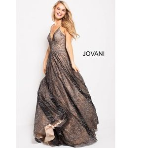 Jovani Silver Glitter Embellished Nude Gown 4